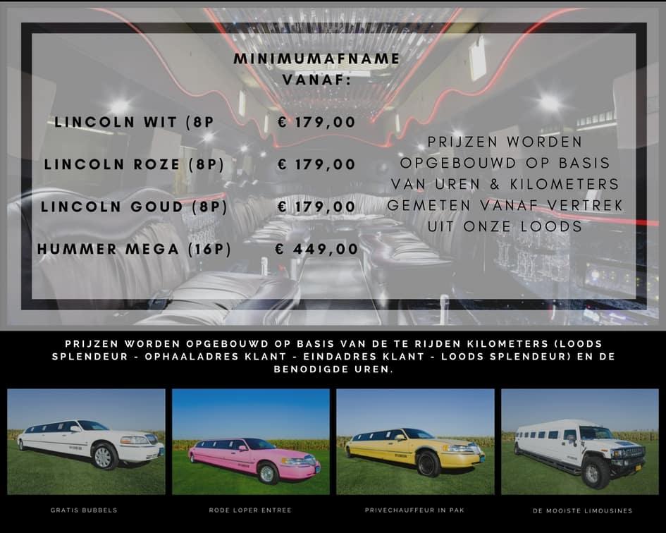 prijzen limousine huren